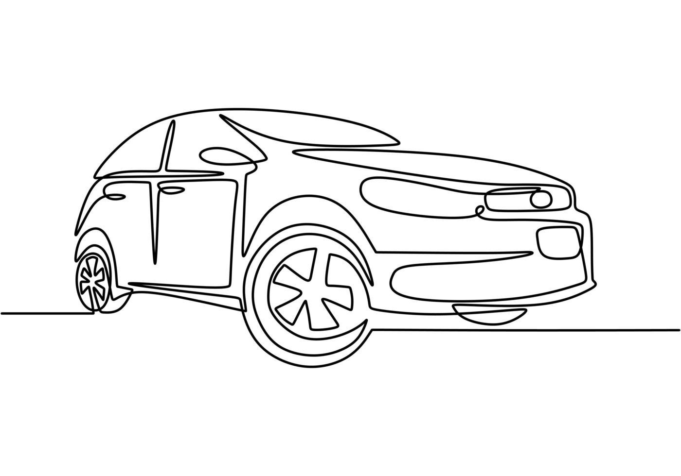 een enkele doorlopende lijntekening van een luxeauto. detailopname. vector