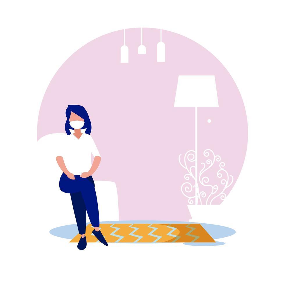 vrouw met masker thuis vector ontwerp