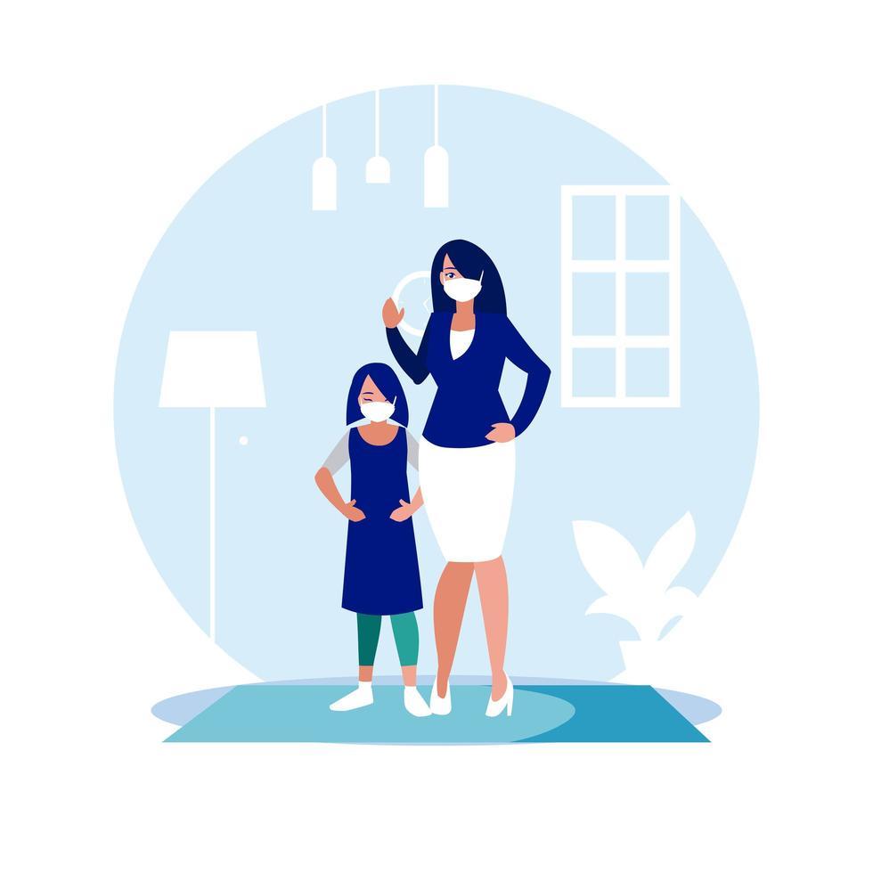 moeder en dochter met maskers thuis vector ontwerp