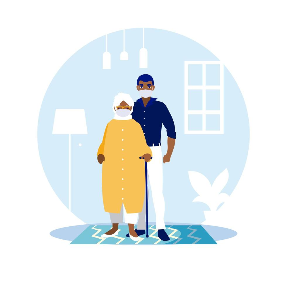 man en grootmoeder met maskers thuis vector ontwerp