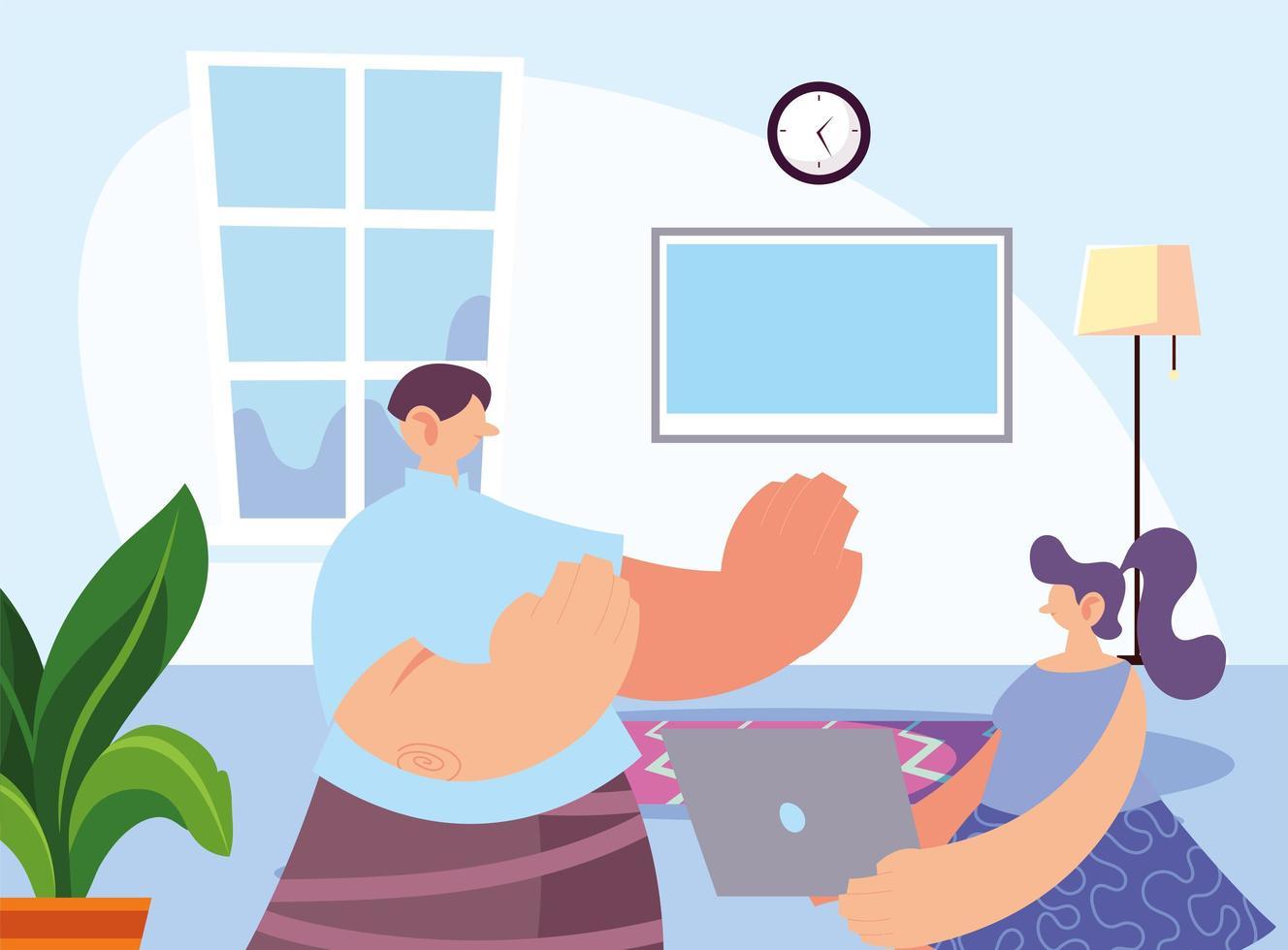 vrouw thuis ter preventie van coronavirus. vector