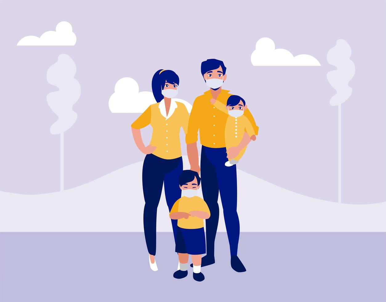 familie met maskers bij park vector ontwerp