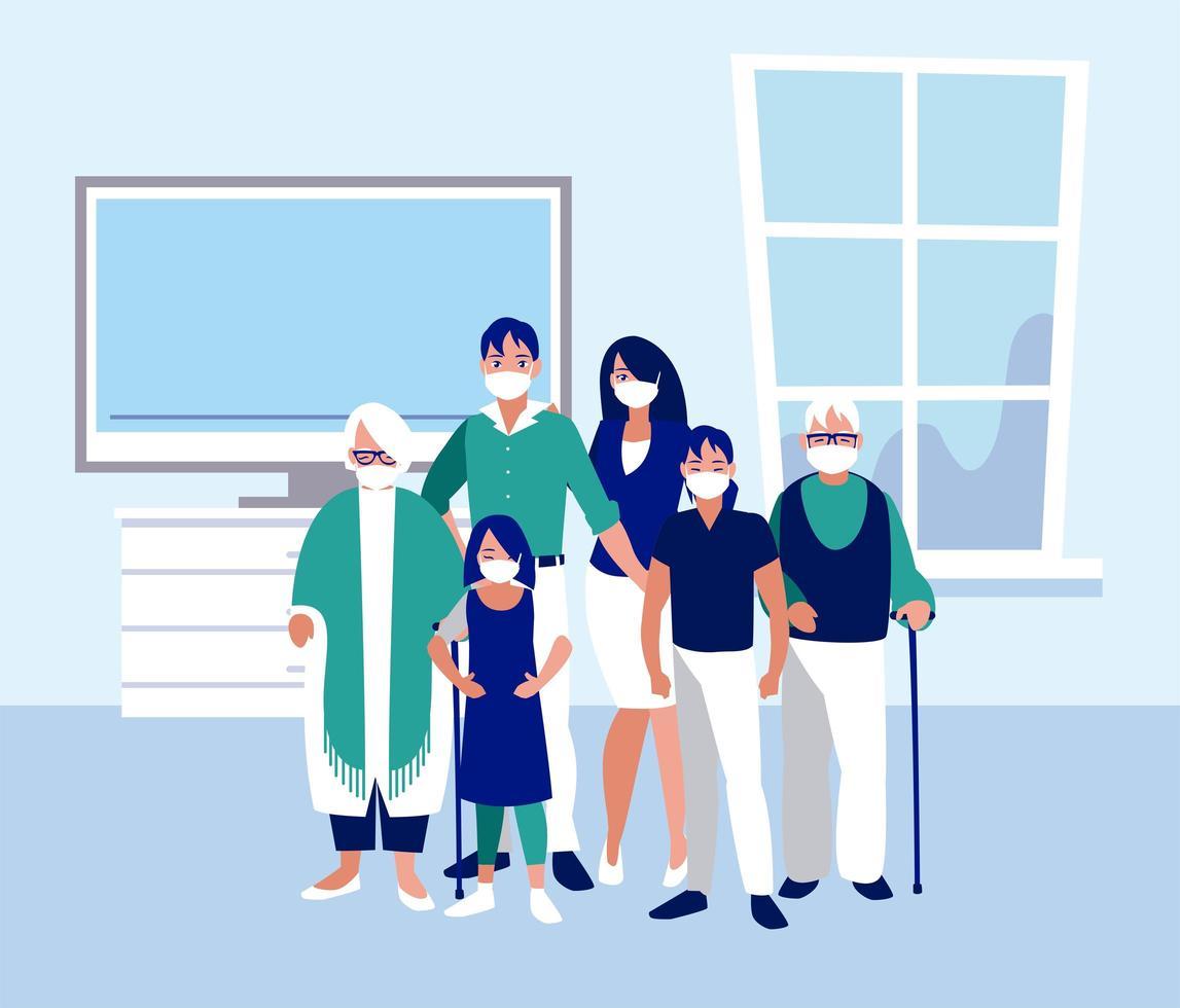 gezin met maskers thuis vector ontwerp