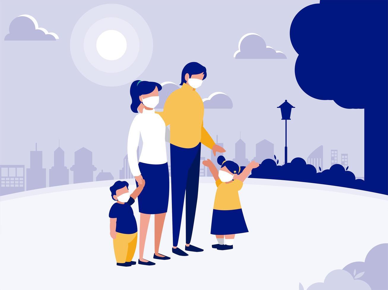 familie met maskers bij park voor stads vectorontwerp vector