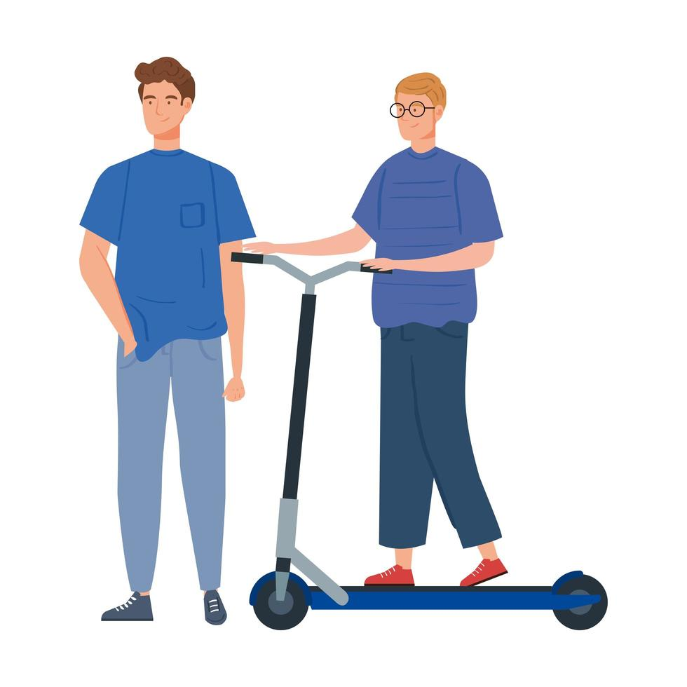 jonge mannen met scooter avatar karakter vector