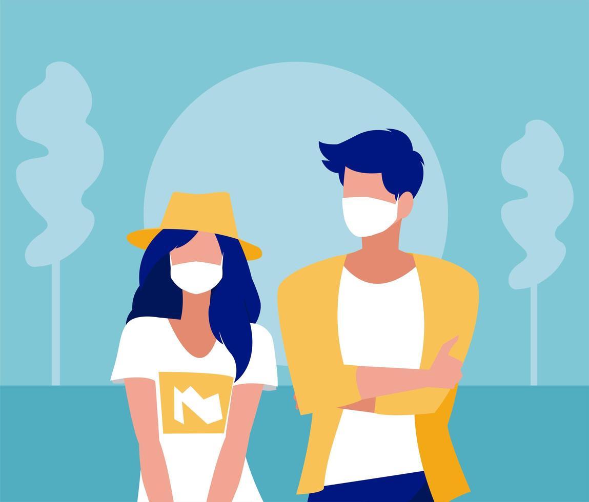 vrouw en man met masker buiten vectorontwerp vector