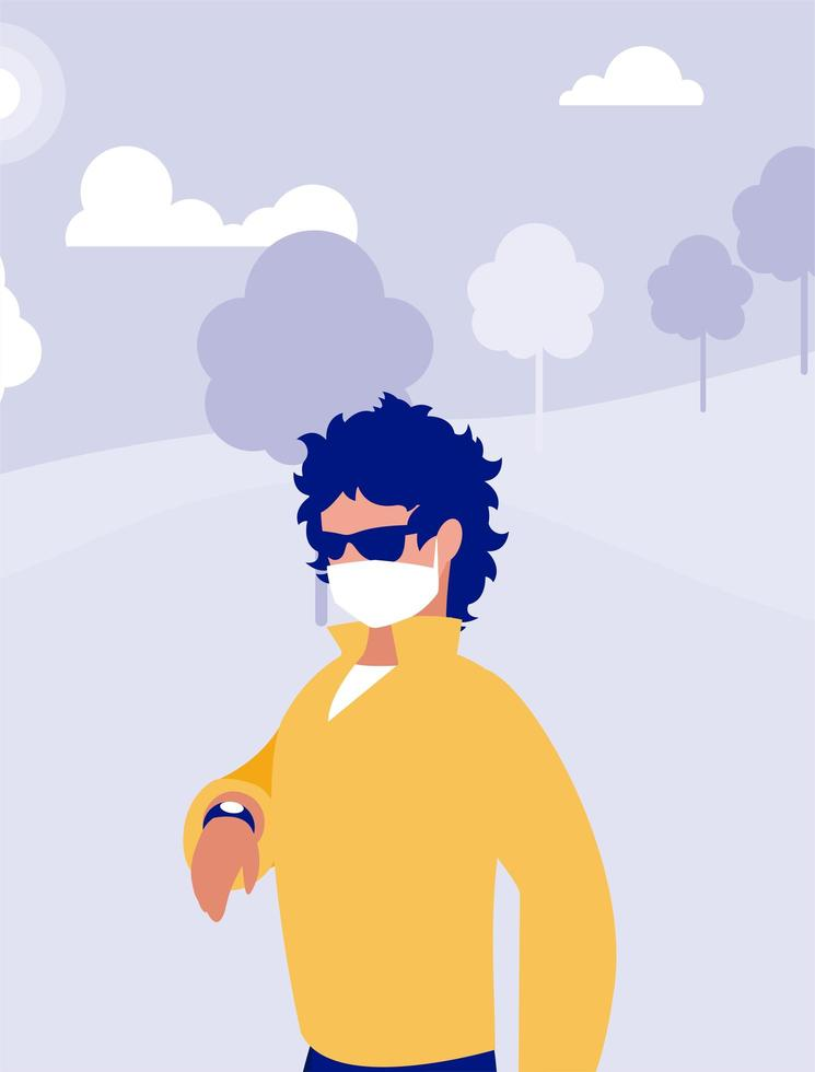 man met masker buiten bij park vector ontwerp