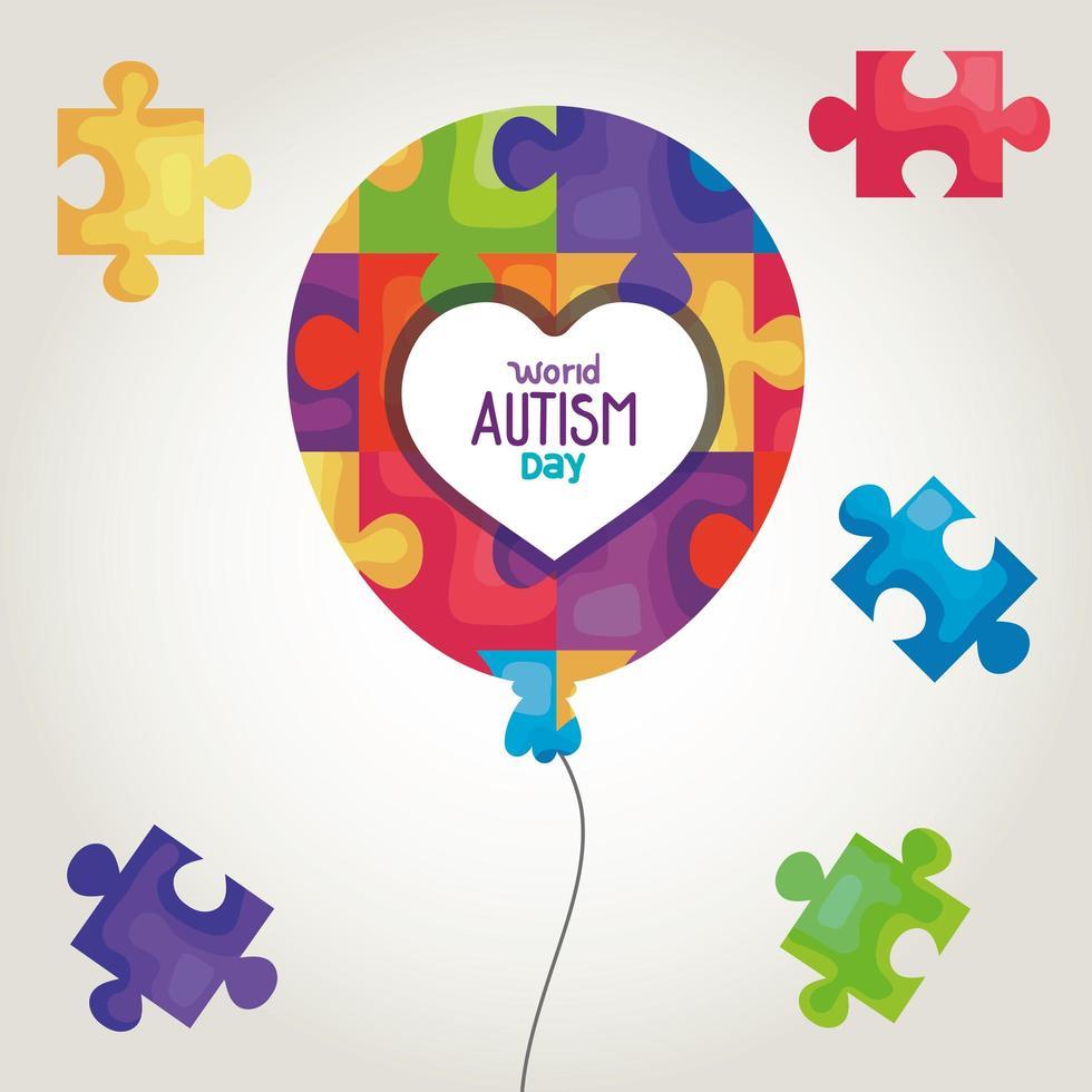 wereld autisme dag met ballonhelium en puzzelstukjes vector