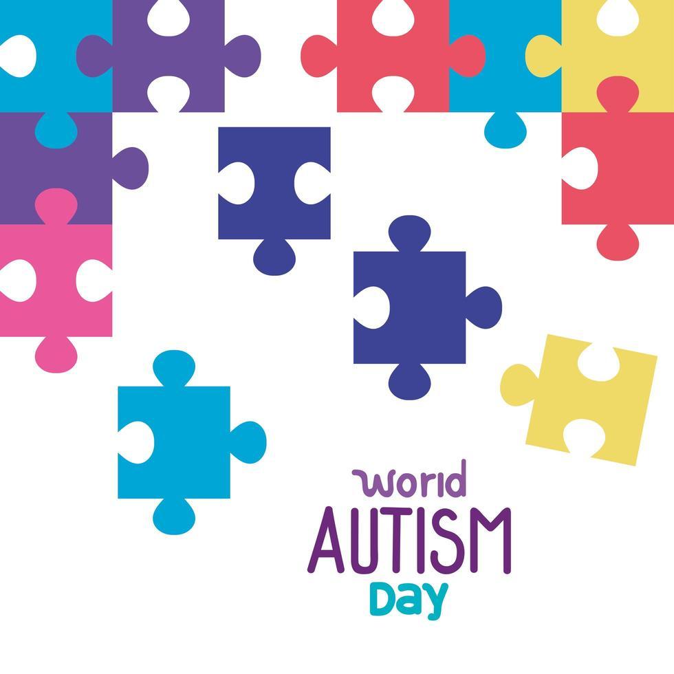 wereld autisme dag met puzzelstukjes vector