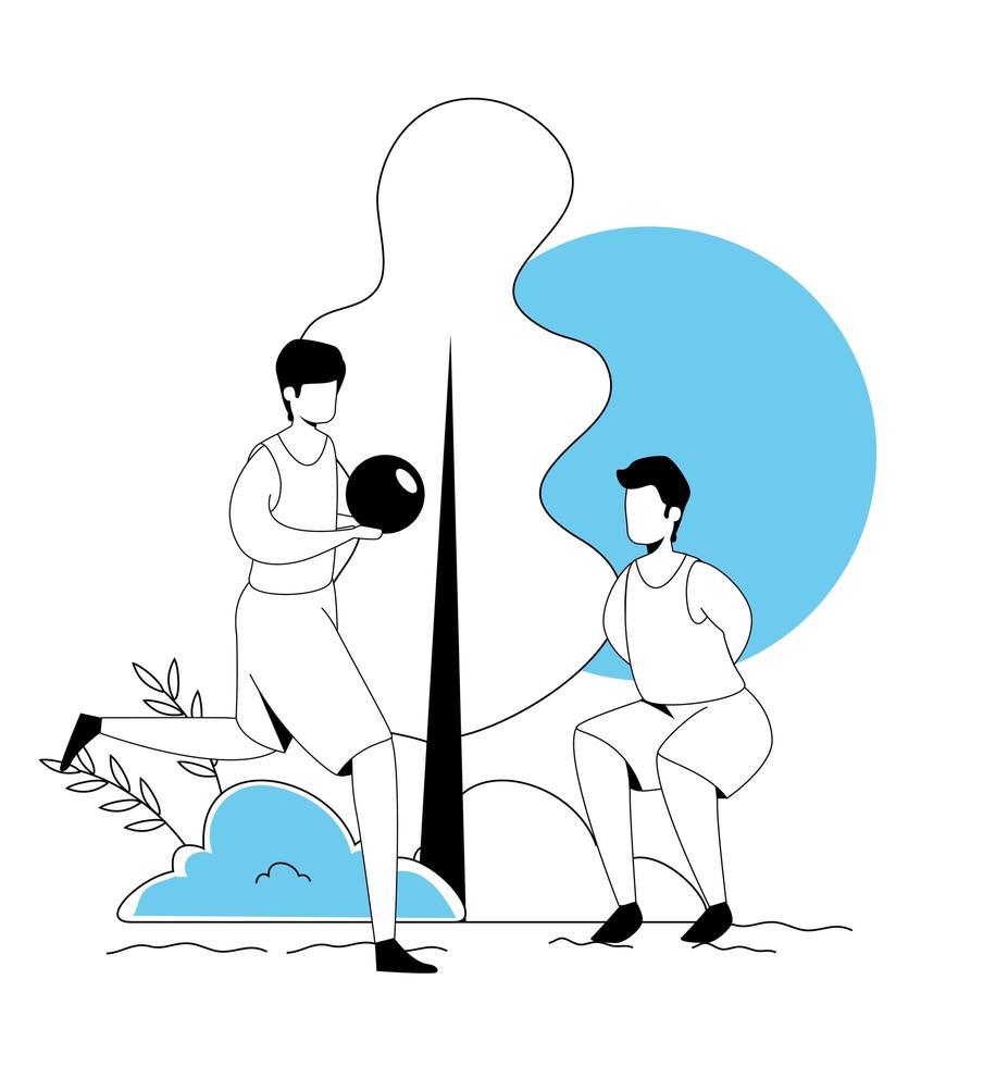 jonge mannen met sportbal avatar karakter vector