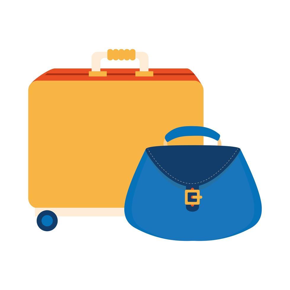 Koffer op wielen met geïsoleerde vrouwentas pictogram vector