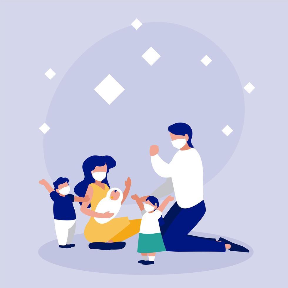 familie met maskers voor cirkel vectorontwerp vector