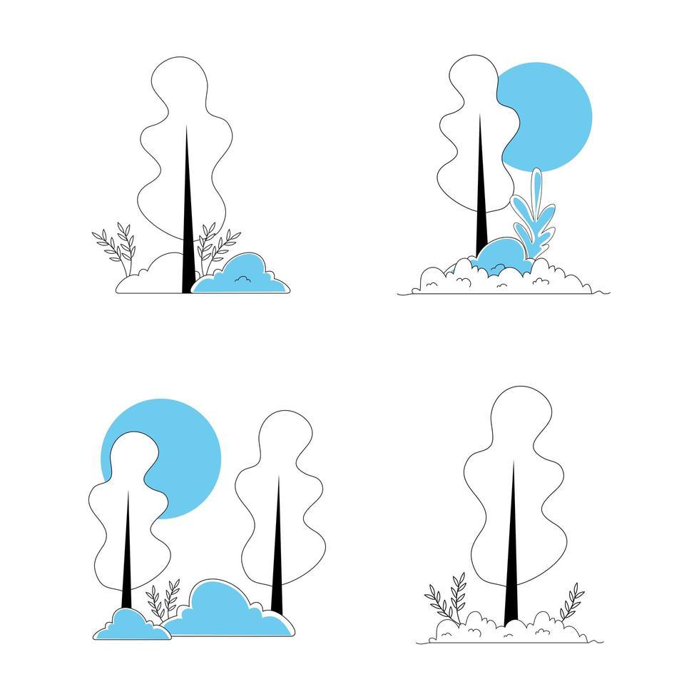 bomen planten natuur geïsoleerde pictogram vector