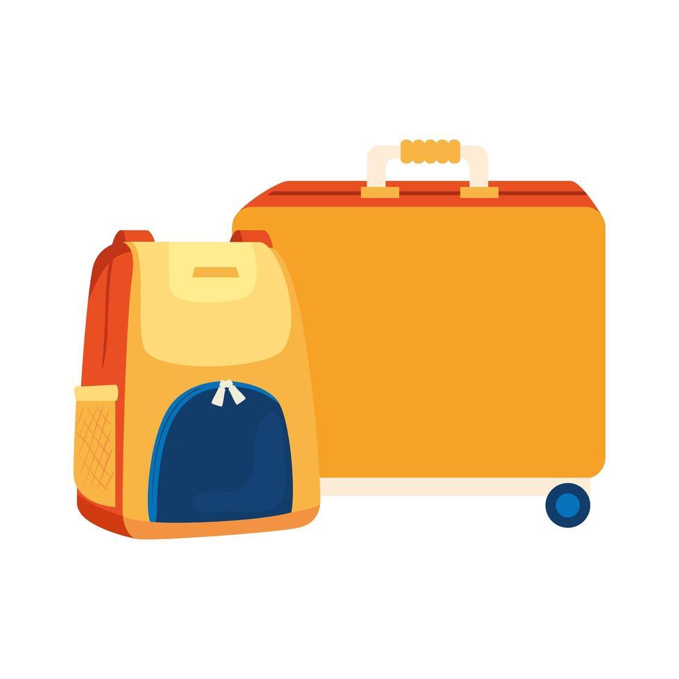 Koffer op wielen met geïsoleerde rugzak pictogram vector