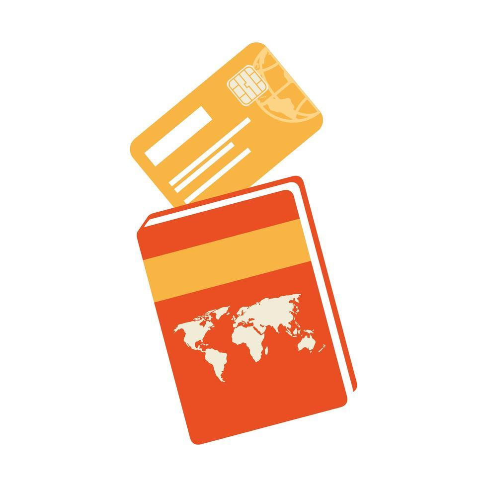 atlas boek met geïsoleerde creditcard pictogram vector