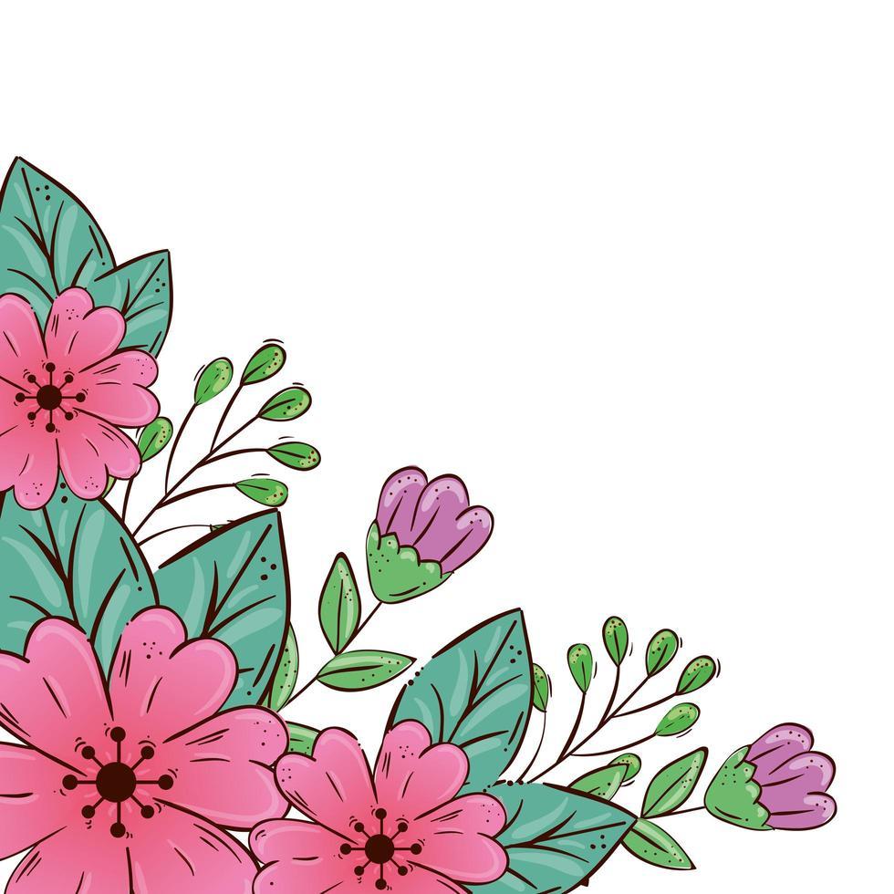 schattige bloemen roze en paars met bladeren vector
