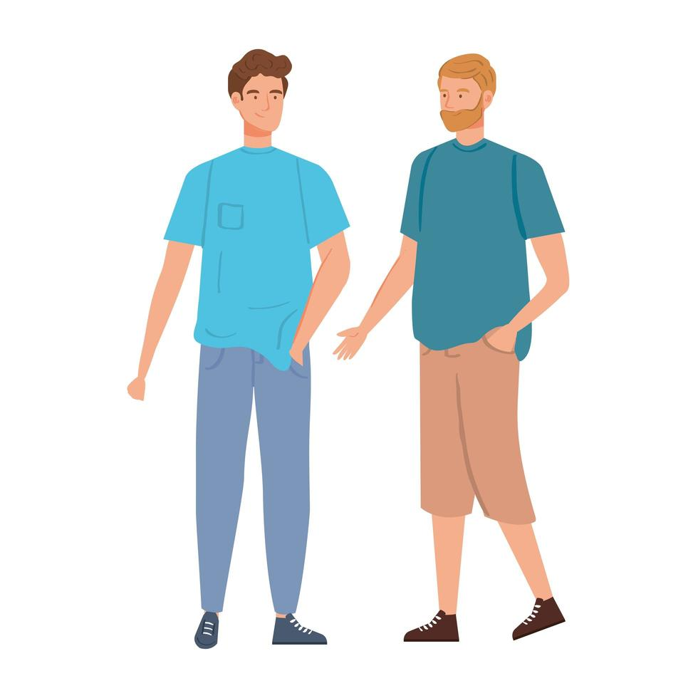 groep jonge mannen avatar karakters vector