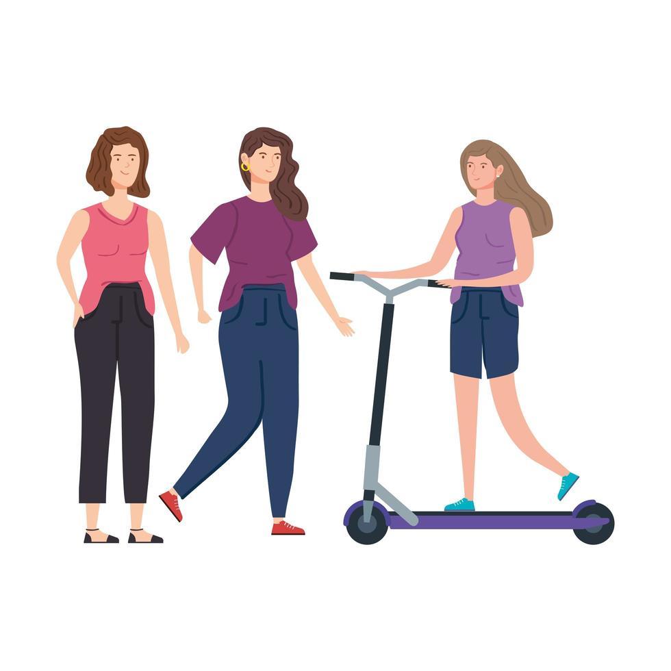 vrouwen met scooter avatar karakter vector