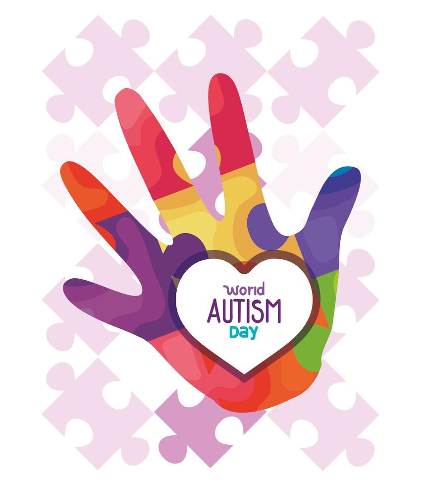 wereld autisme dag met hand en puzzelstukjes vector