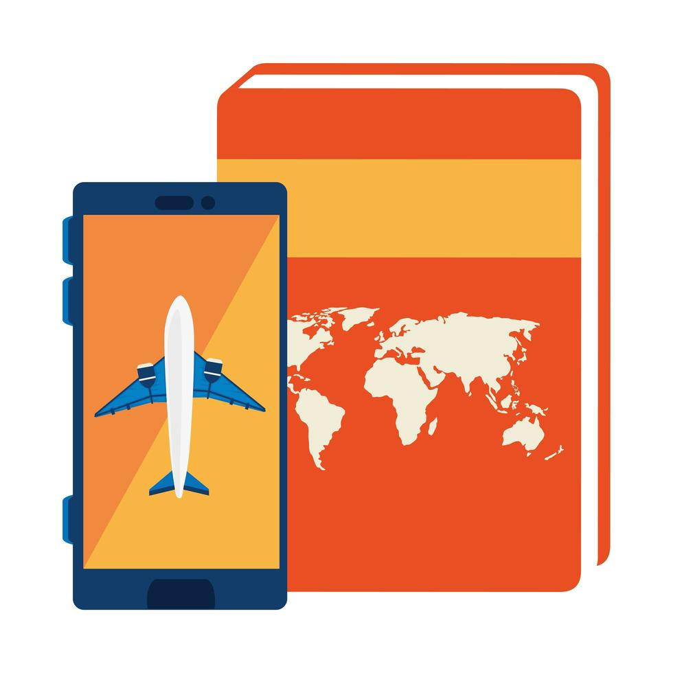vliegtuig in smartphone met atlasboek vector