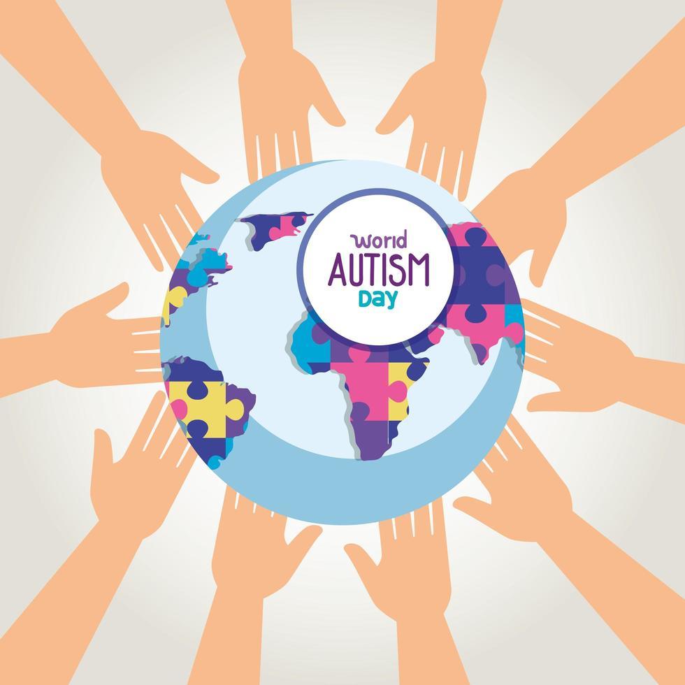 wereld autisme dag en wereldplaneet met handen vector