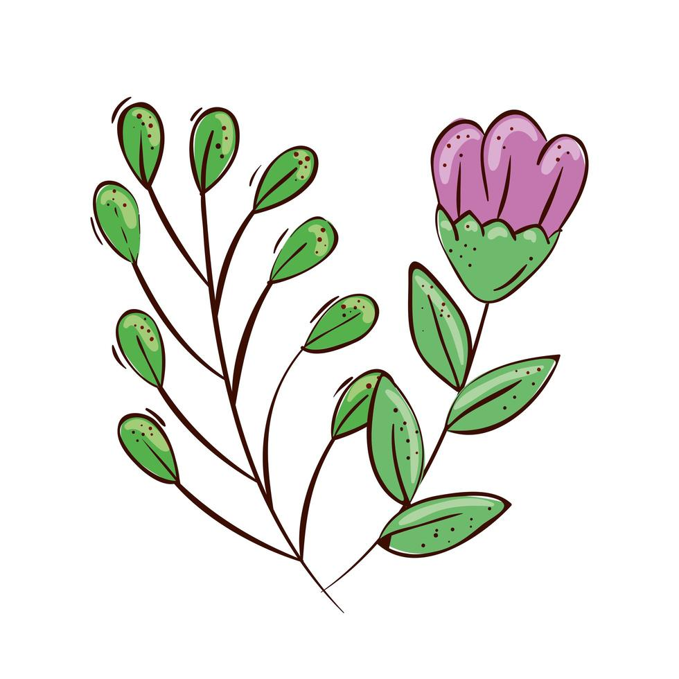 schattige bloem paars met takken en bladeren vector