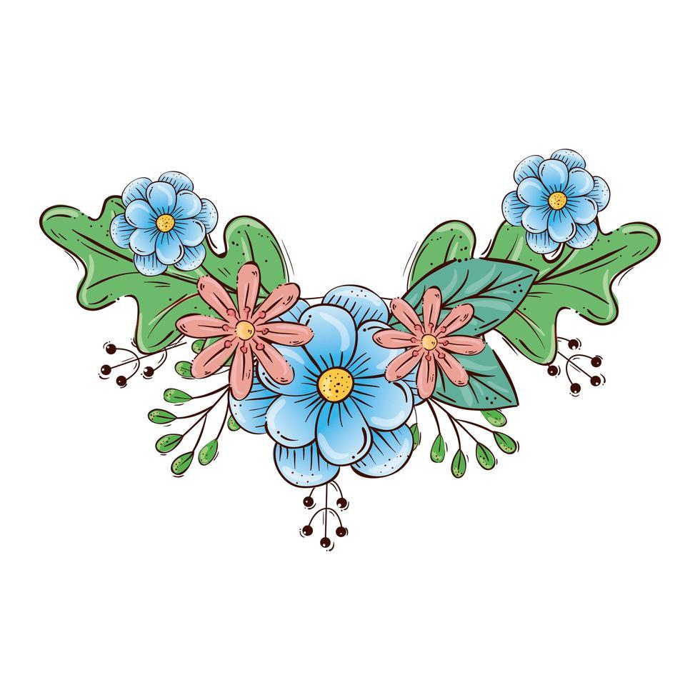 schattige bloemen met takken en bladeren decoratie vector