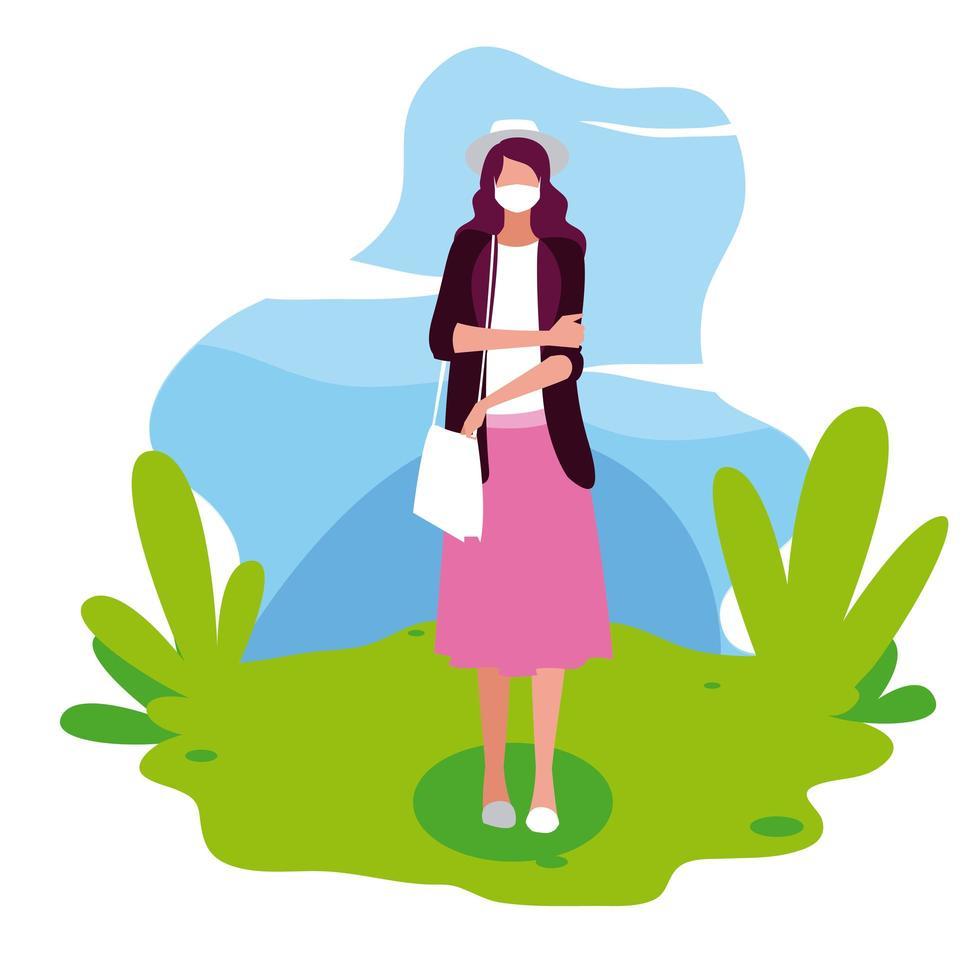 vrouw avatar met masker buiten vector design