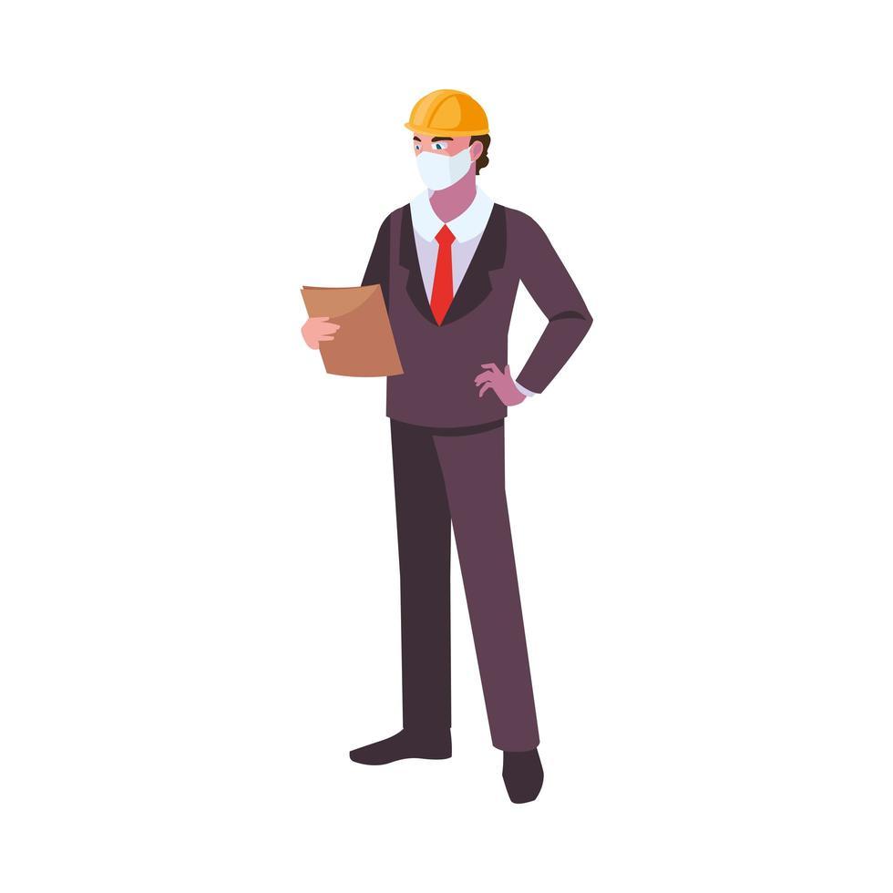 exploitant die gezichtsmasker op het werk draagt vector
