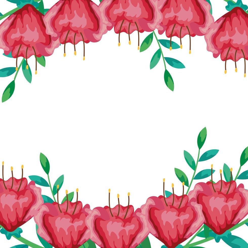 frame van bloemen rood met takken en bladeren vector