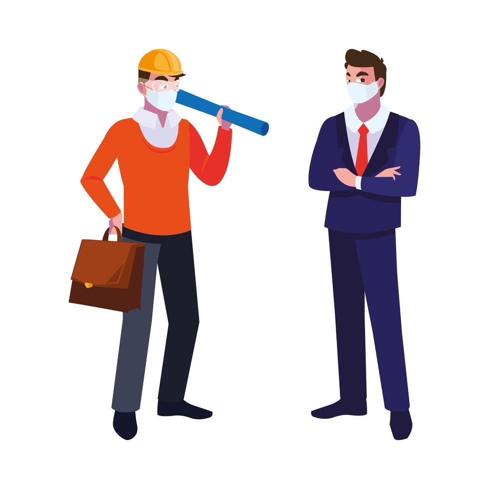 uitvoerend en architect met masker en helm vector