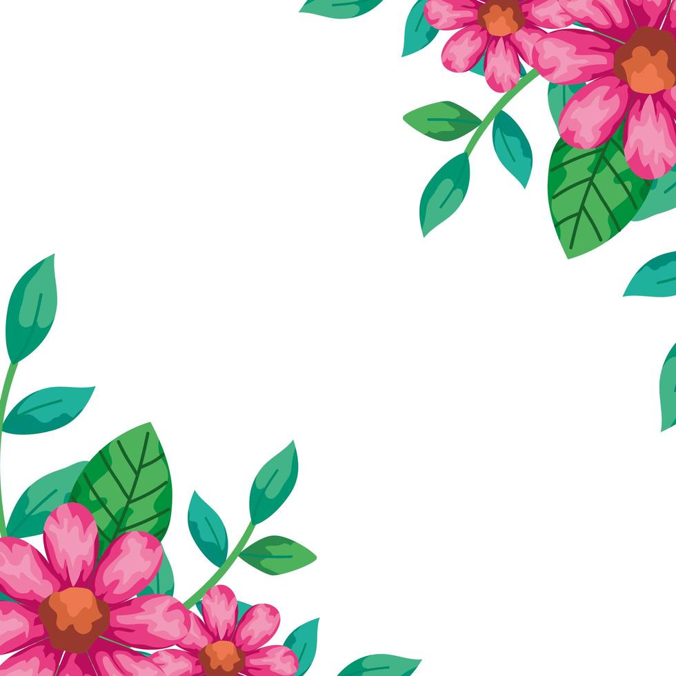 frame van bloemen roze kleur met natuurlijke bladeren vector
