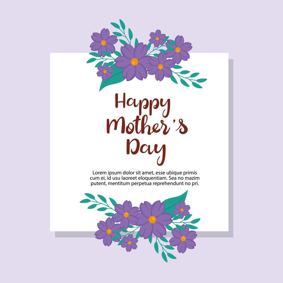 gelukkige moederdag kaart met vierkant frame en bloemendecoratie vector