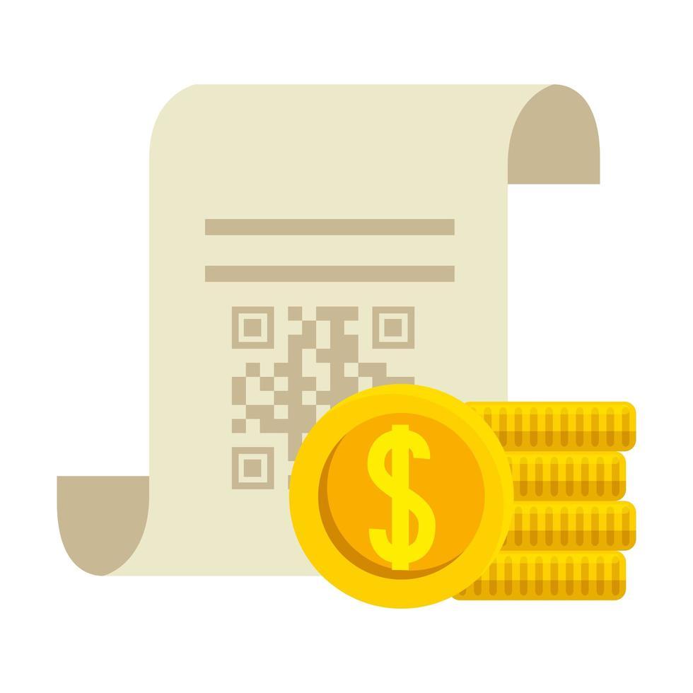 qr-code over ontvangstpapier en munten vectorontwerp vector