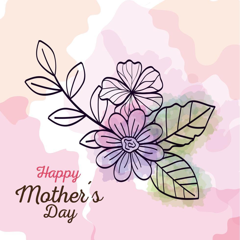gelukkige moederdag kaart met bloemendecoratie vector