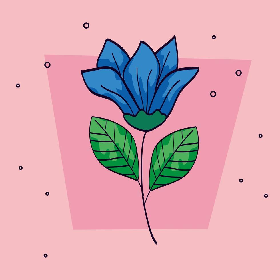 bloem blauwe kleur met tak en bladeren vector