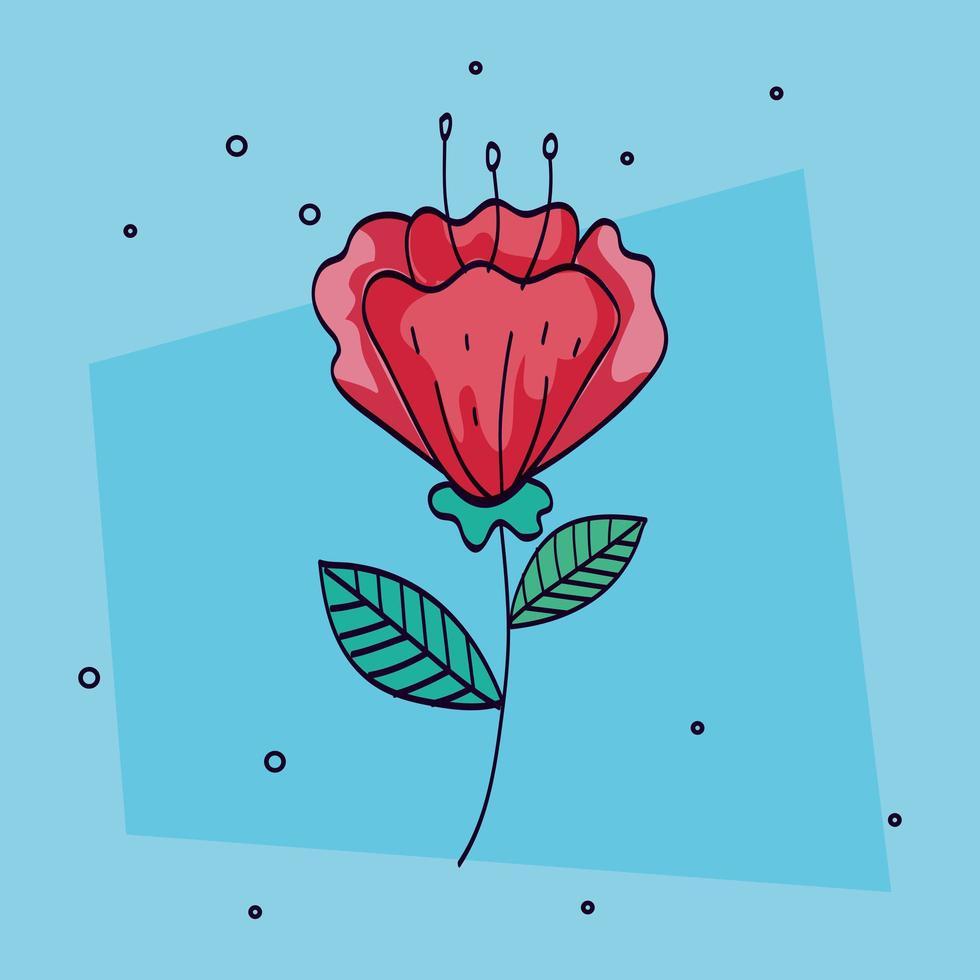 bloemrode kleur met tak en blad vector