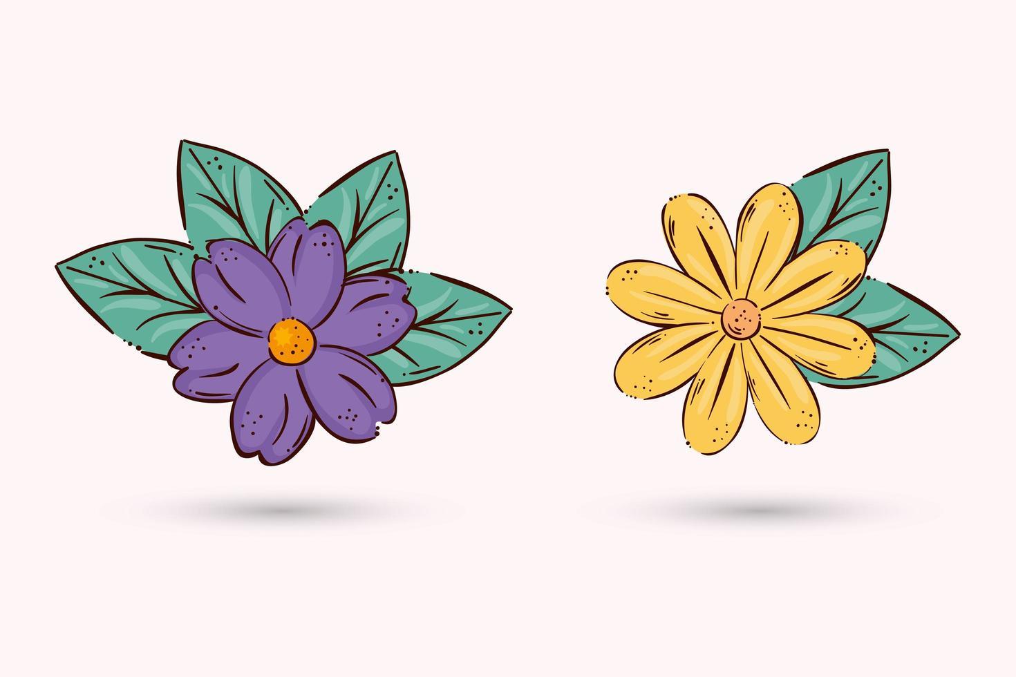 geïsoleerde bloemen met bladeren vector ontwerp