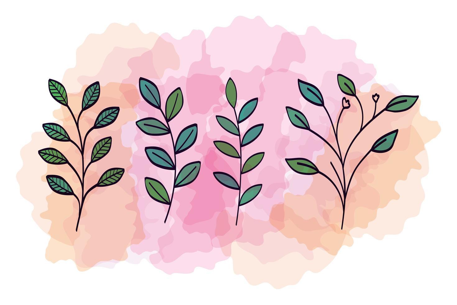 aantal takken met bladeren naturals vector
