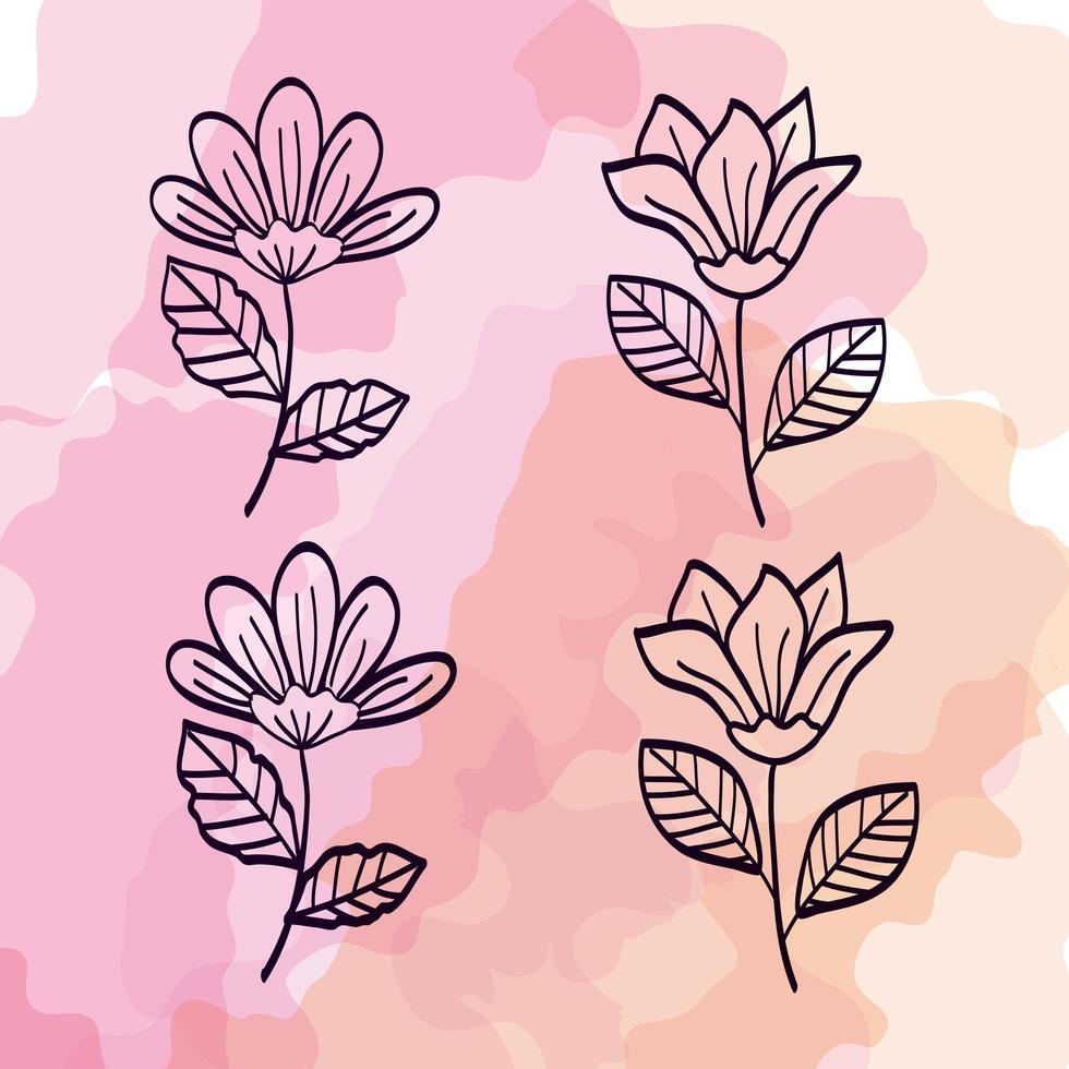 set van schattige bloemen met takken en bladeren vector