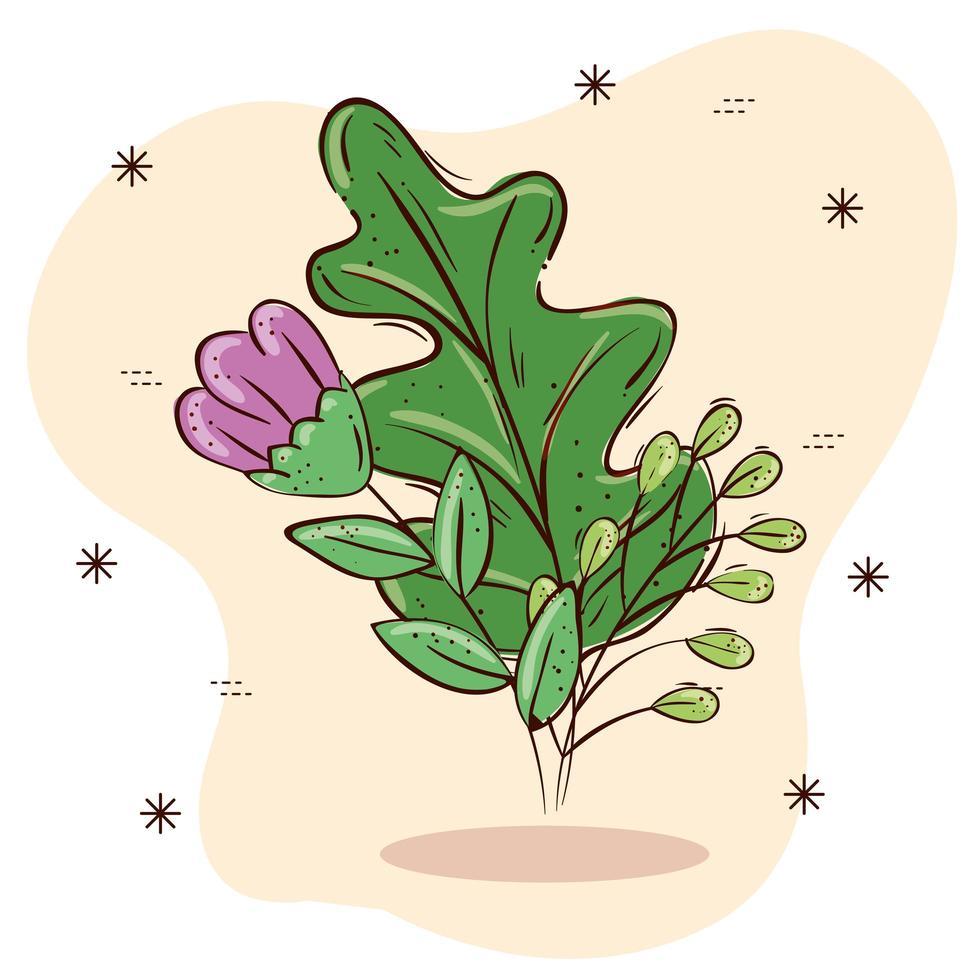 geïsoleerde paarse bloem en bladeren vector ontwerp