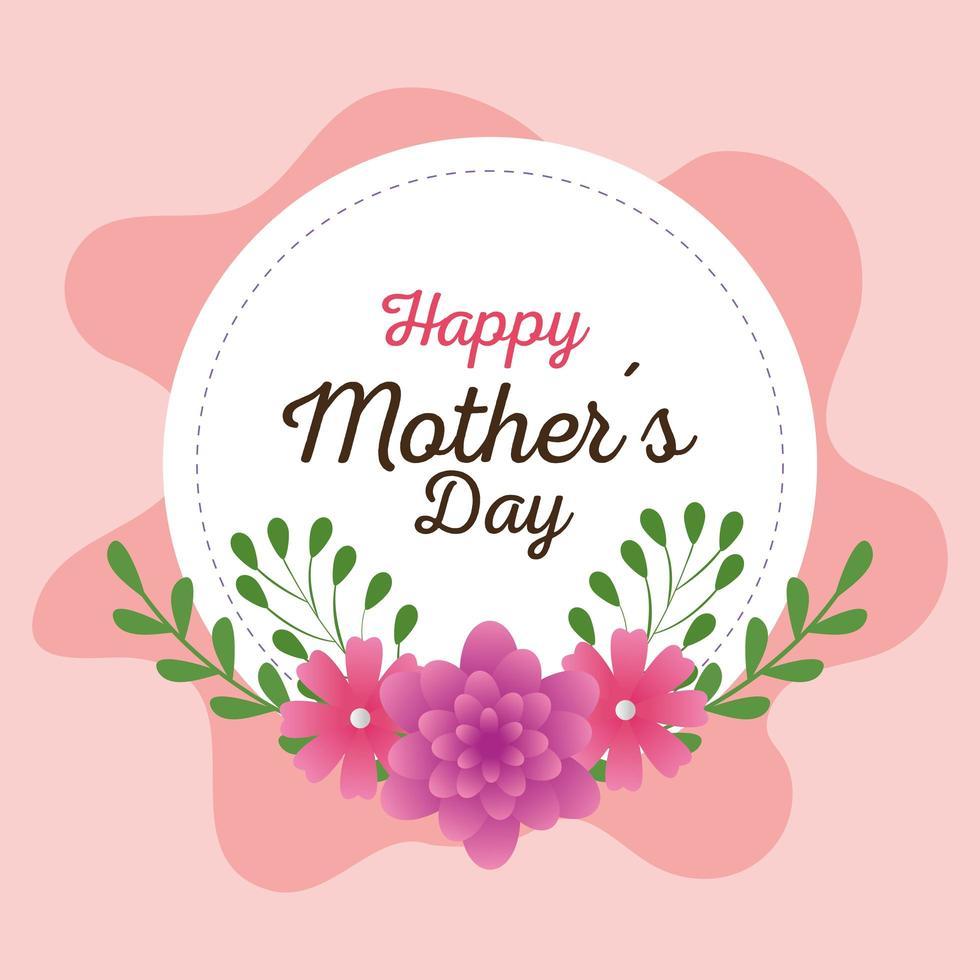 gelukkige moederdagkaart en frame rond met bloemendecoratie vector
