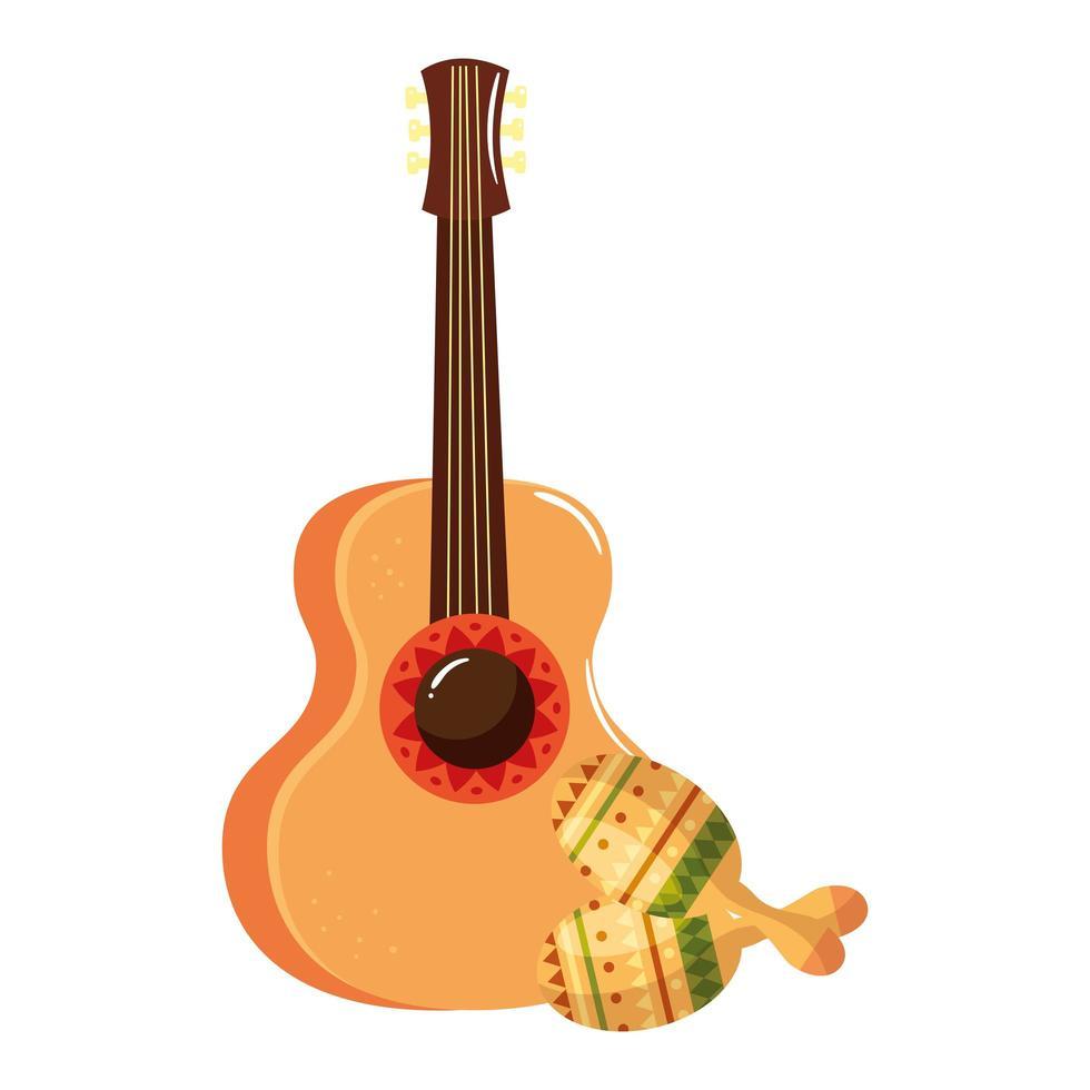 geïsoleerd Mexicaans gitaar en maracas vectorontwerp vector