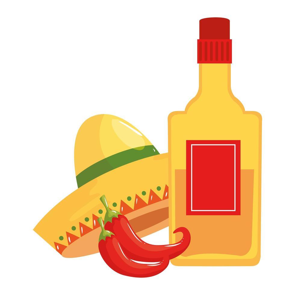 geïsoleerde Mexicaanse hoed van de tequilafles en Spaanse pepers vectorontwerp vector
