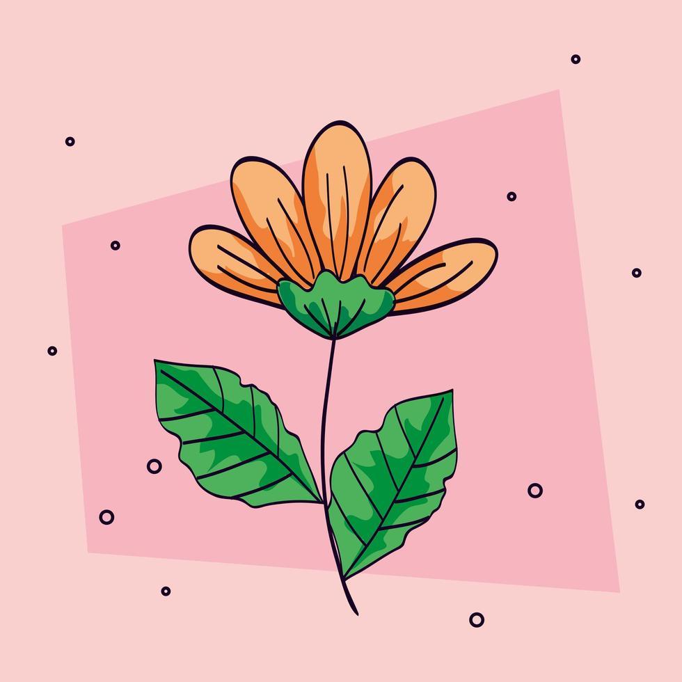 bloemgele kleur met tak en blad vector