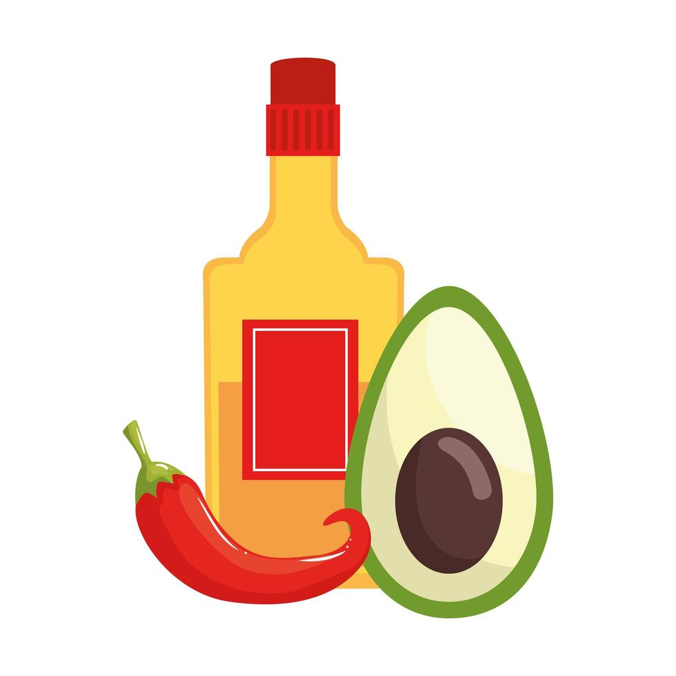 geïsoleerde Mexicaanse tequilafles avocado en chili vector ontwerp