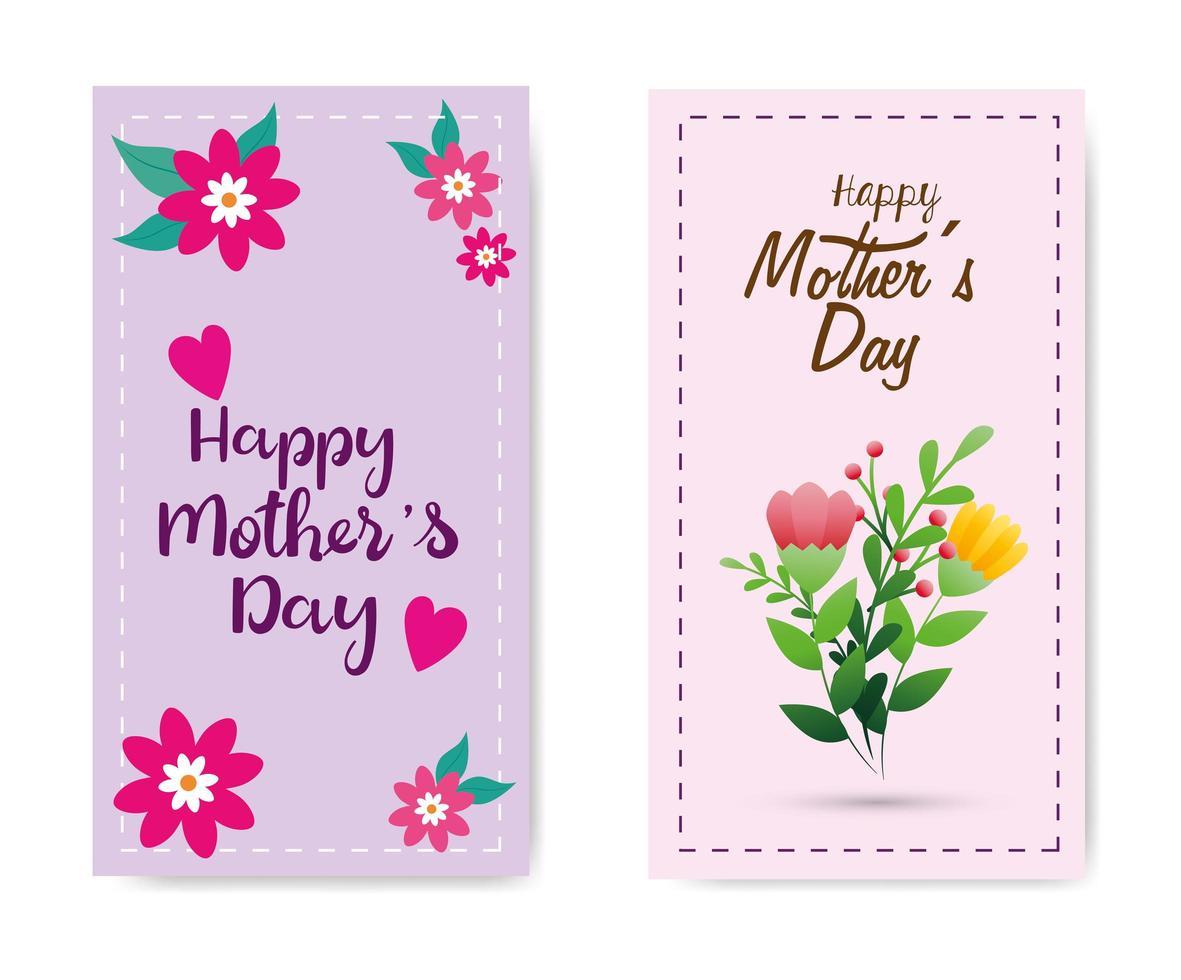 kaarten van gelukkige moederdag met bloemendecoratie instellen vector