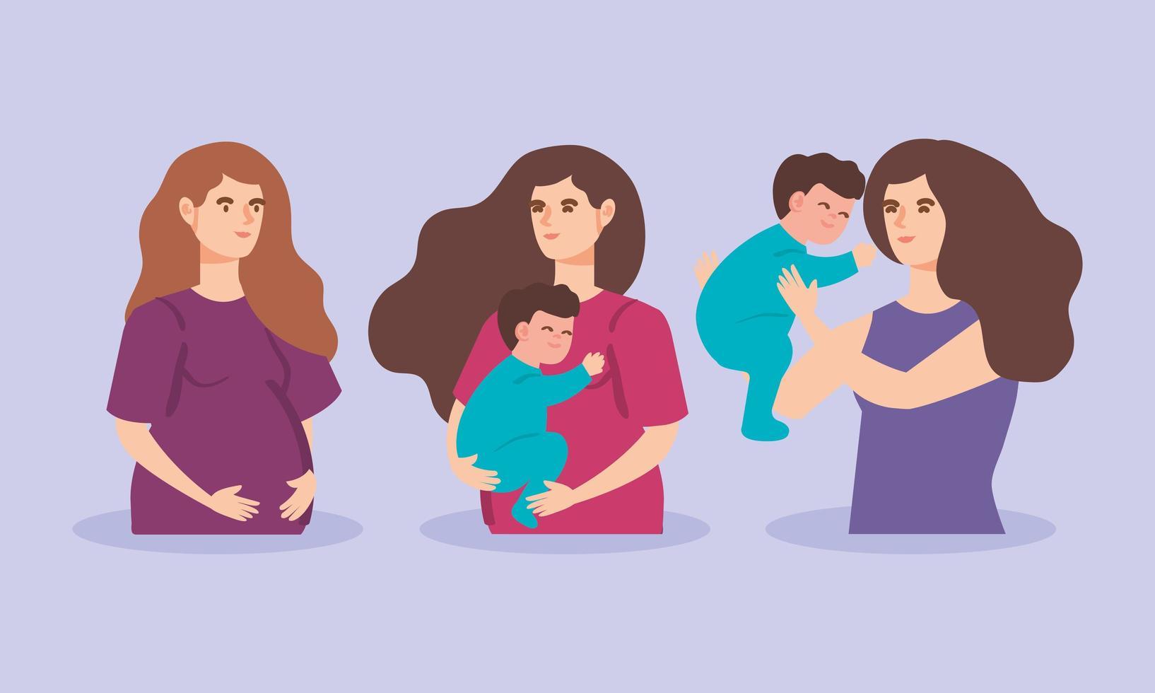 schattige vrouwen zwanger van babyjongens vector