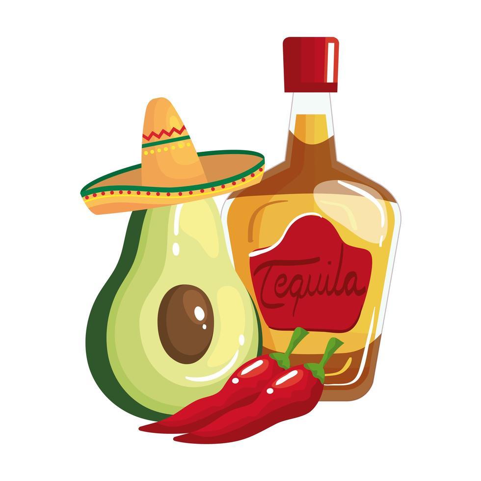 geïsoleerde Mexicaanse tequilafles Spaanse pepers en avocado vectorontwerp vector