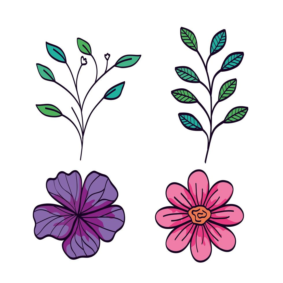 set van schattige bloemen met takken en bladeren naturals vector